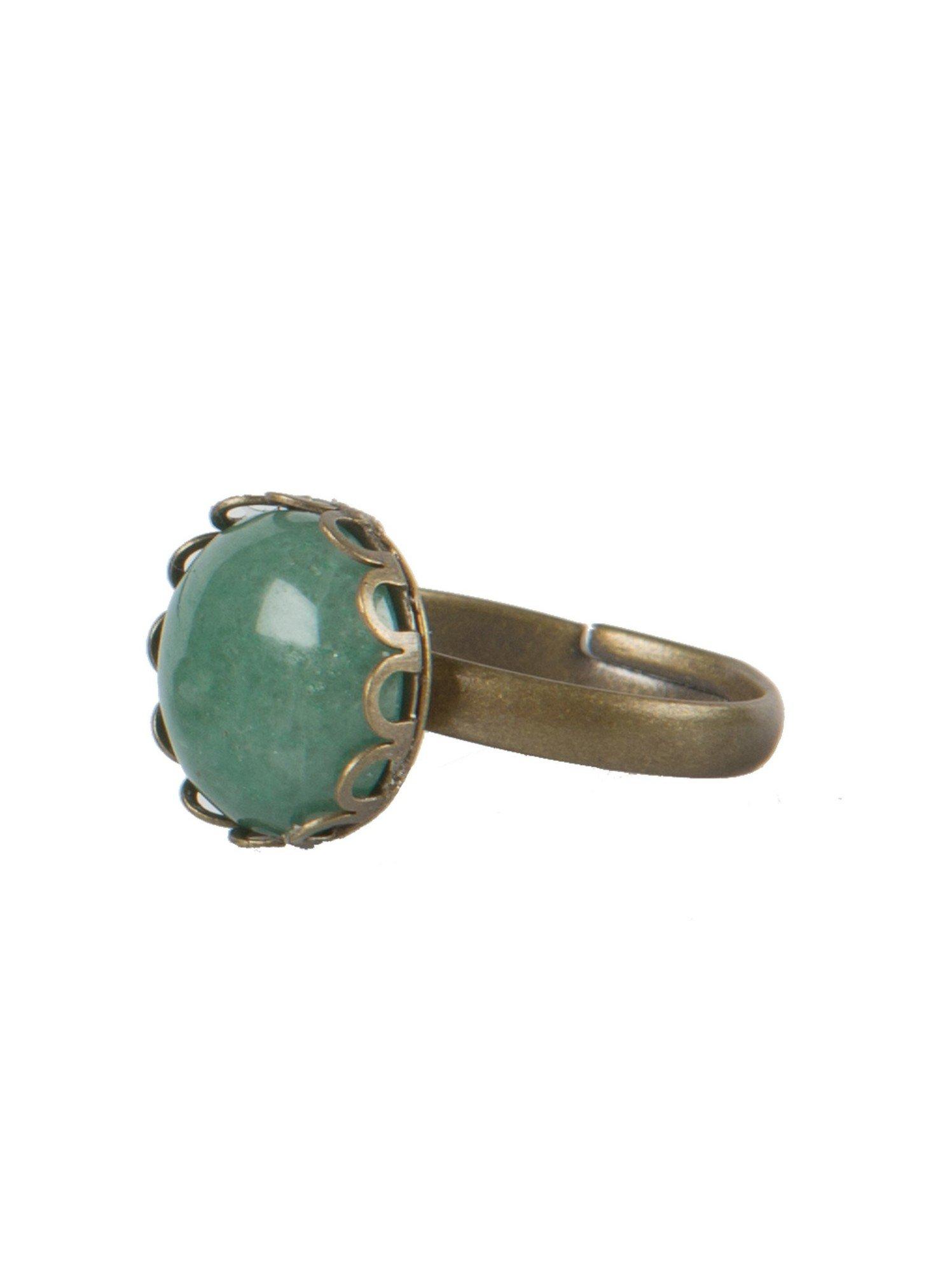 Extreem Bronzen ring met groene steen - Ellen Beekmans @BC95